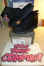 "Timberland Youth's 6 Inch Premium Black Nubuck Boots ""Black"" Black B012707 sz. 3"