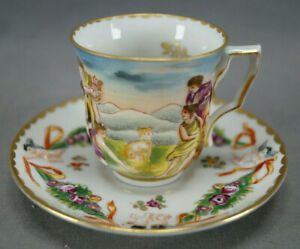 19th Century Capodimonte Style Hand Painted Demitasse Cup & Saucer C
