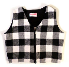 Girls or Boys Size 5 Deux Par DEux Black and White Plaid Flannel Vest Zip Front