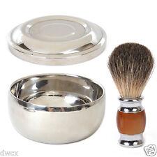 Resin Badger Wet Shaving Brush + Steel Metal Mug Bowl Set Barber Men Tool Gift
