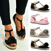 New Womens Ladies Pom Pom Espadrille Sandals Flats T Bar Ankle Shoes Size Uk 3-8