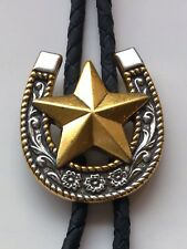 Western Bolo Tie Horse Shoe with Gold Trim/Gold Texas Star