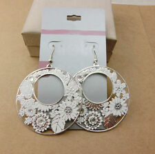 Fun New Bohemian Boho Silver White Flower Hollow Round Disc Dangle Drop Earrings