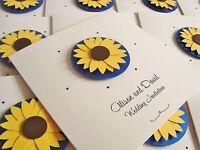 Personalised Handmade Luxury Sunflower Wedding Invitation Sample