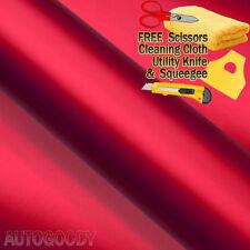 "84"" x 60"" Satin Matte Chrome Metallic Red Vinyl Film Wrap Sticker Bubble Free"