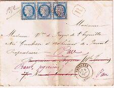 25 c SUR LETTRE x3-TOULOUSE-BAGNÈRES DE BIGORRE-COMTESSE D'ADHÉMAR DE PANAT-1876