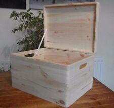 X - LARGE PLAIN  WOOD KEEPSAKE SOUVENIRS BOX FOR ART CRAFT WITH  LID  40x30x23cm