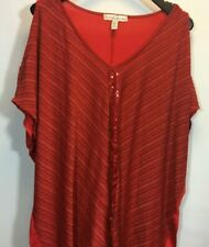 French Connection Top Plus 22 Sequin Red Holiday Gold Cold Shoulder