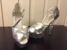 Platform Strappy Silver Clear Stiletto Heels Womens Shoes Size 7