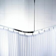 RIDDER Universal Corner Shower Curtain Rail with Hooks Chrome Bath Rod 52500
