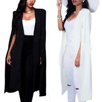 Women Blazer Cape Long Coat Jacket Suit Shawl Cloak Cardigan Business Outwear