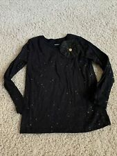 EUC Carters Black And Gold Girls Glitter L/S Tee With Bow 4/5