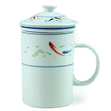 THREE PIECE CHINESE TEA INFUSER MUG - KOI FISH DESIGN