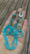 Antique Asian jewelry, Set of earing & necklace , Silver Turquoise Blue Gade ,