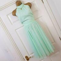 Coast Mint Green Dress Halterneck Fit Flare Chiffon Summer Evening Wedding UK 14