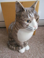 BEAUTIFUL QUAIL POTTERY CERAMIC LARGE TABBY CAT FLOWER VASE  BOXED IDEAL GIFT