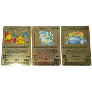 Pokemon 1st Edition Charizard Blastoise Base Set Shadowless Gold Metal Card Art
