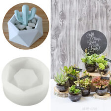 Hexagon Flower Pot Silicone Molds Garden Planter Concrete Vase Soap Mould DIY