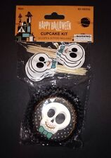 Cupcake Kit 24 Cups & 24 Picks Toppers Halloween Skull