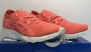 Asics Mens Sz 7.5 Tiger Gel-Kayano Knitted Trainer Running Peach Sneakers Shoes
