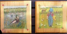2 x Pine Wood Wall Plaques Picture Painting Decorative Children's Room