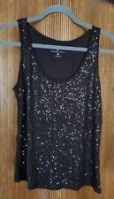 NY&C Brown Rayon Sequined Stretch Tank Top Women's Size MEDIUM