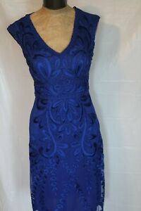 NWT SUE WONG Sapphire Royal Blue Embroidered Soutache Style C3104 Dress Size 2