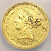 1843-C Liberty Gold Half Eagle $5 - NGC XF Details - Rare Charlotte Gold Coin!