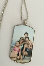 PERSONALISED Dog tag PHOTO NECKLACE with ball chain SINGLE sided CUSTOM printed
