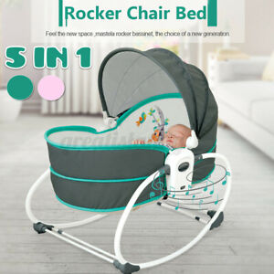 Baby Infant Hand Rocking Swing Chair Compact Cradle Toddler Seat w/ Music