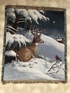 """Deer & Cardinal Winter Scene Throw Blanket 45""""x55"""" Holiday Afghan Tapestry"""