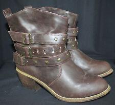 Just 4U Boots Ankle Cowboy Western Slouch Wrinkle Belted Studded Brown 6.5 New
