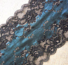 "4.5 Yards 7.5"" Wide Lovely Stretch Black  Lace with Teal Green Pattern 353"