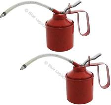 2 x 560ml (1 Pint) Oil Can Tin Pump Flexible Spout Handle Metal Lubricant Garage