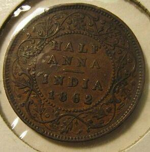 1862 British India Victoria Half Anna Coin - Higher Grade