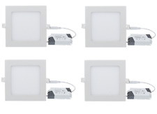 4 SPOT SQUARE DESIGN ENCASTRABLE BLANC FROID AMPOULE LED 6W + TRANSFORMATEUR