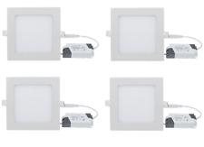 4 SPOT SQUARE DESIGN ENCASTRABLE BLANC FROID AMPOULE LED 6W + TRANSFORMATEUR