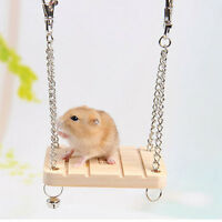 Wooden Hamster Toy Swing Rat Bird Mouse Exercise Cage Hanging Bell Pet Play Pop