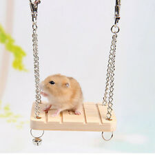 Wooden Hamster Toy Swing Rat Bird Mouse Exercise Cage Hanging Bell Pet Play _ti