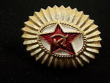 Vintage Soviet Russia USSR Military Hat Badge Red Star Hammer Sickle #8301