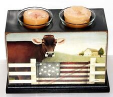 """AMERICAN COW"" Wooden Box Votive/Tealight Holder w Candles by Lang ~New Sealed"