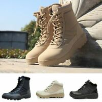 Men Army Tactical Soft Leather Combat Military Ankle Boots Work Desert Shoes Hot