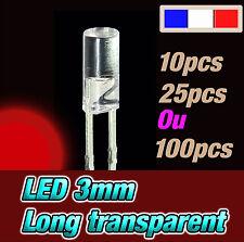 215RR# LED 3mm super rouge cylindrique long *** 10, 25 ou 100pcs * red flat TOP