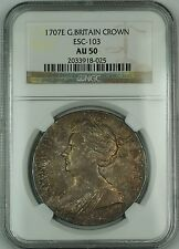 1707E Great Britain Silver Crown Coin ESC-103 Anne NGC AU-50 AKRï¾