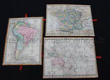 Ancien jeu 7 puzzle bois Paris ATLAS GEOGRAPHIQUE mappemonde france amerique