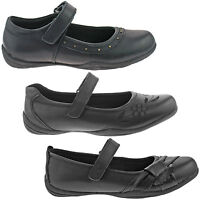 GIRLS JUSTGOOD BLACK SCHOOL SHOES SIZE UK 10 - 7 KIDS INFANTS LEATHER KD