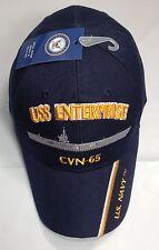 USS Enterprise CVN 65 Ball Cap Embroidered US Navy Veteran Aircraft Carrier Hat