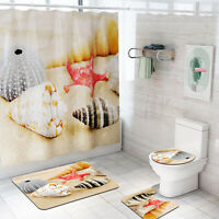 Non-Slip Bathroom Rug+Lid Toilet Beach Shell Cover+Bath Mat+Shower Curtain Sets