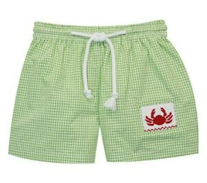 Boys SILLY GOOSE green smocked crab swimsuit 5 6 NWT cotton boutique swim trunks