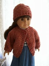 "Hand Knit Heather Sweater & Slouchy Cap fits American Girl & other 18"" Dolls"